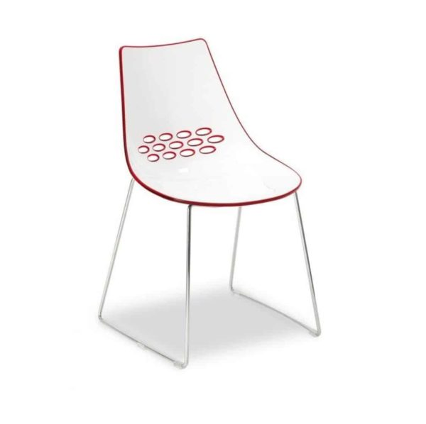Jam Chair Sled Base Metal Frame Connubia by Calligaris at DeFrae Contract Furniture Red