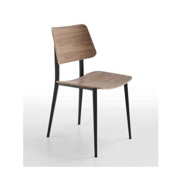 Joe Side Chair by Midj at DeFrae Contract Furniture Range Natural wood metal frame