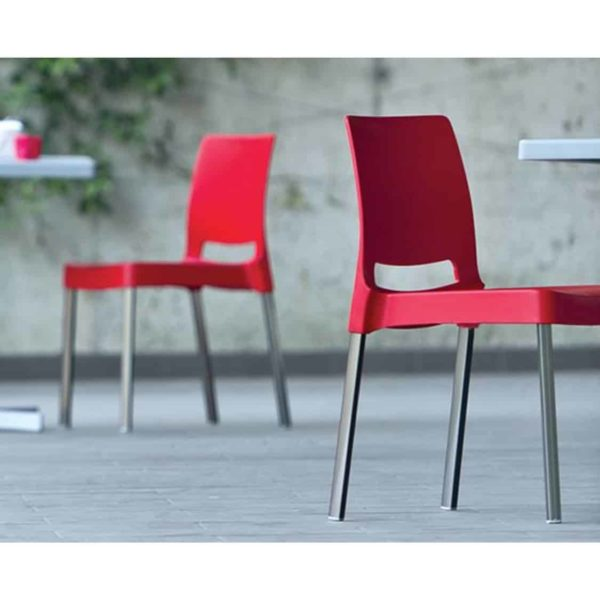 Joi Side Chair Pedrali at DeFrae Contract Furniture Red in situ