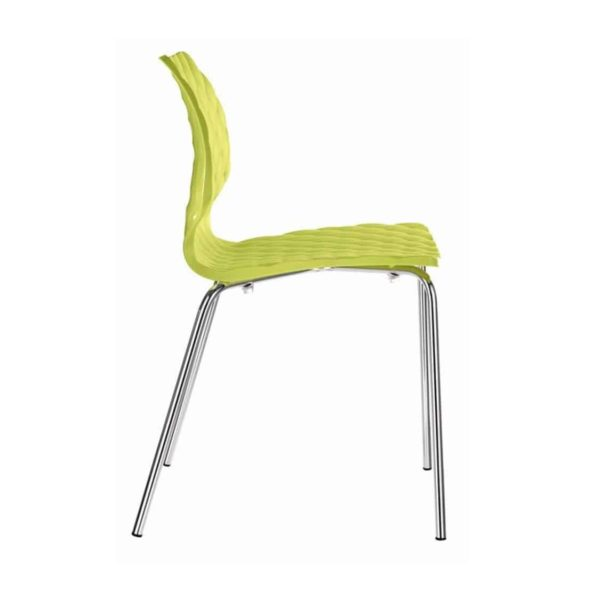 Kai Side Chair Uni 550 Et Al Metal Frame DeFrae Contract Furniture Lime Green With Chrome Frame