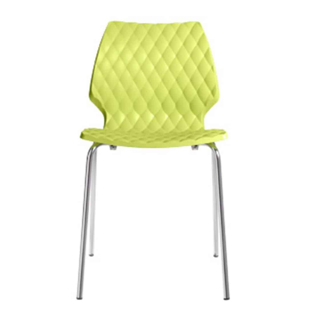 Kai Side Chair Uni 550 Et Al Metal Frame DeFrae Contract Furniture Lime Green With Chrome Frame Front