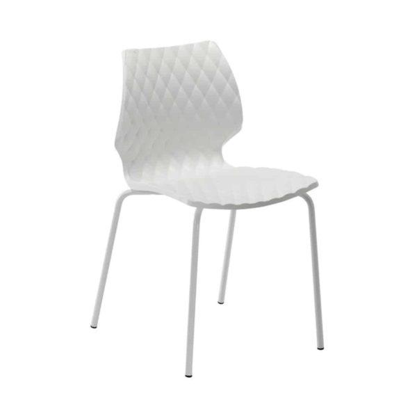 Kai Side Chair Uni 550 Et Al Metal Frame DeFrae Contract Furniture White