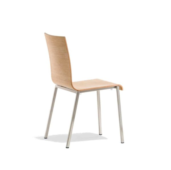 Kuadra Wood Side Chair 1321 Pedrali at DeFrae Contract Furniture Natural Back Side On View