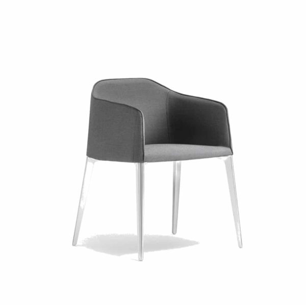 Laja Armchair Pedrali DeFrae Contract Furniture Grey with white legs