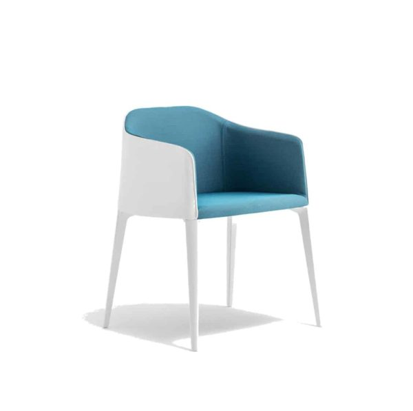 Laja Armchair Pedrali DeFrae Contract Furniture blue with white legs