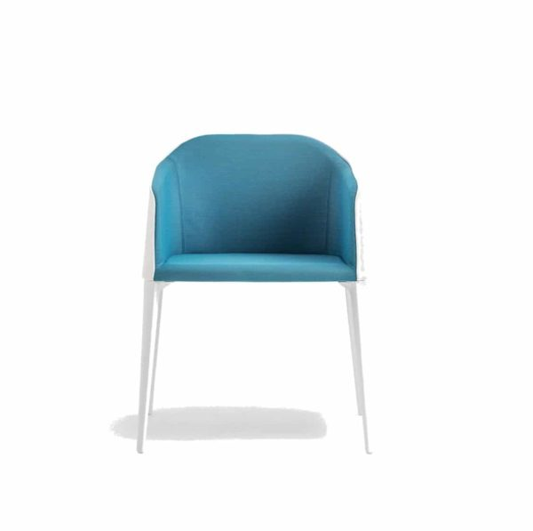 Laja Armchair Pedrali DeFrae Contract Furniture blue with white legs front view