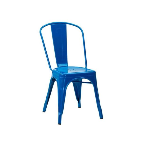Leon Side Chair Industrial French Bistro Tolix A Blue