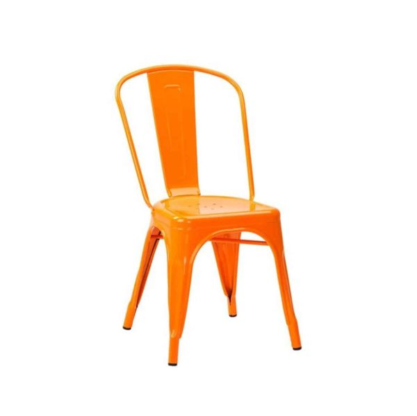 Leon Side Chair Industrial French Bistro Tolix A Bright Orange