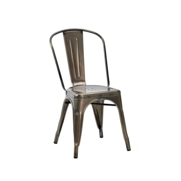 Leon Side Chair Industrial French Bistro Tolix A Gun Metal