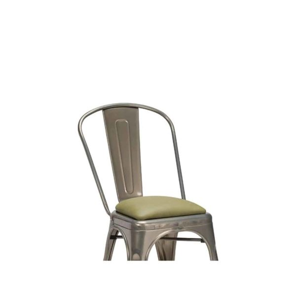 Leon Side Chair Industrial French Bistro Tolix A Gun Metal Faux Leather Wrapped Seat