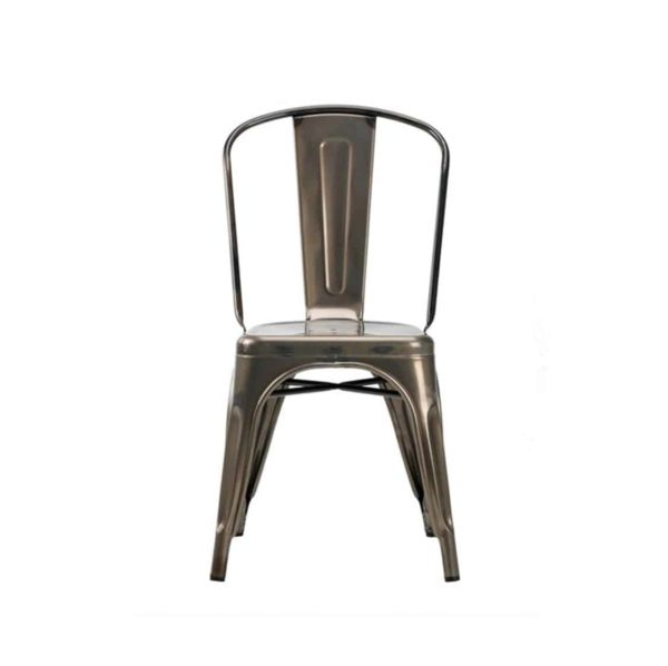 Leon Side Chair Industrial French Bistro Tolix A Gun Metal Front View