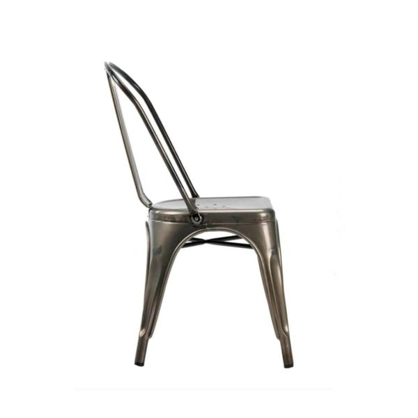 Leon Side Chair Industrial French Bistro Tolix A Gun Metal Side View