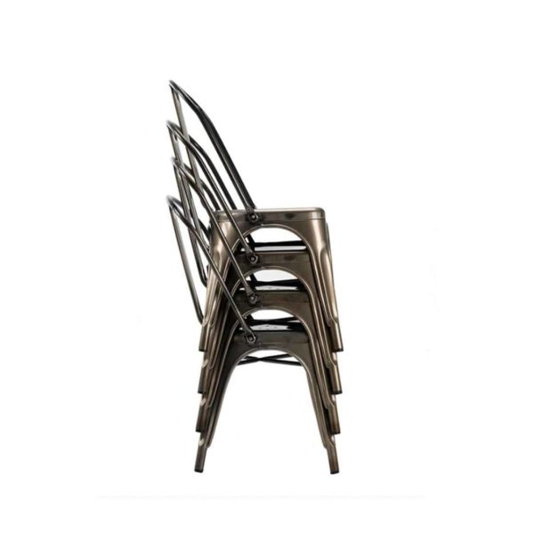 Leon Side Chair Industrial French Bistro Tolix A Gun Metal Stackable