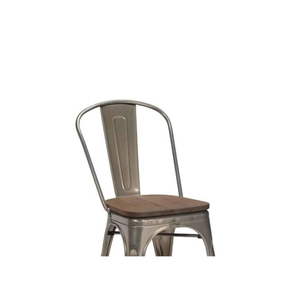 Leon Side Chair Industrial French Bistro Tolix A Gun Metal Wooden Seat]