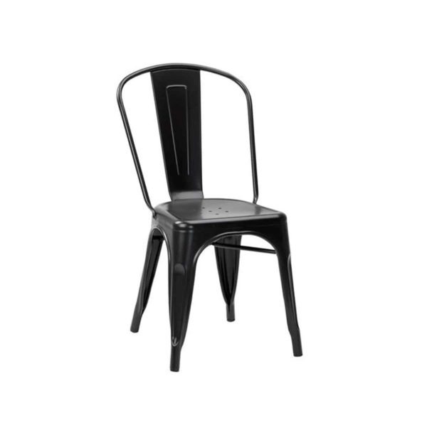 Leon Side Chair Industrial French Bistro Tolix A Jet Black