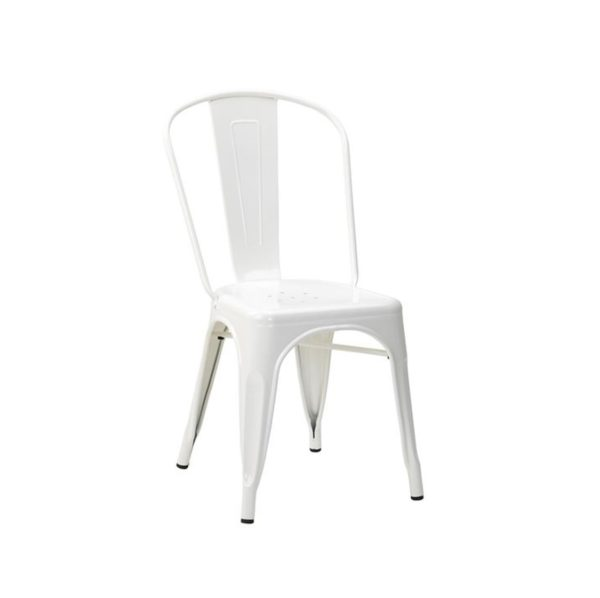 Leon Side Chair Industrial French Bistro Tolix A White