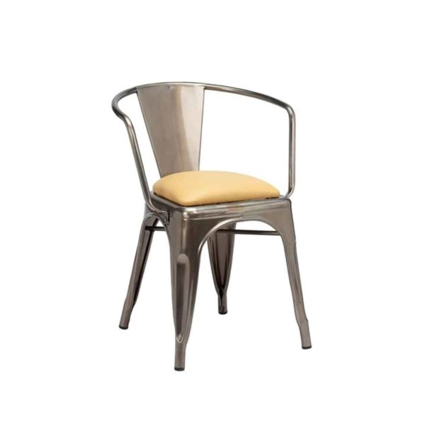 Leon armchair Industrial French Bistro Tolix A Gun Metal Wrapped Upholstered Seat