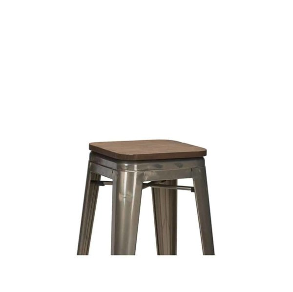 Leon bar stool Industrial French Bistro Tolix A Gun Metal Wooden Seat