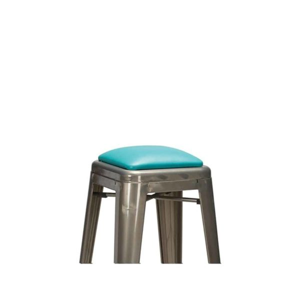 Leon bar stool Industrial French Bistro Tolix A Gun Metal Wrapped Upholstered Seat