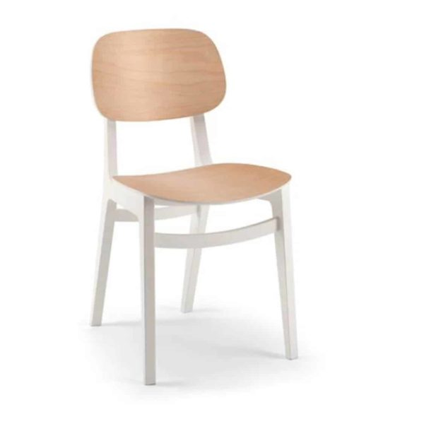 Lottie Side Chair DeFrae Contract Furniture Wooden Restaurant Chair X Kitti Xedra two tone