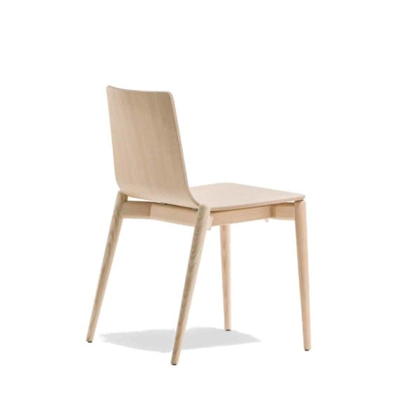 Malmo side chair ashwood DeFrae Contract Furniture Pedrali Natural Back View