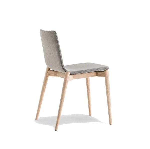 Malmo side chair ashwood DeFrae Contract Furniture Pedrali Natural Back View Upholstered
