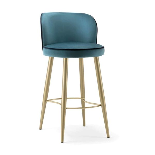 Manhattan Bar Stool with Brass legs velvet Candy by DeFrae Contract Furniture