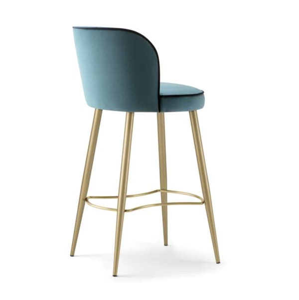 Manhattan Bar Stool with Brass legs velvet Candy by DeFrae Contract Furniture side