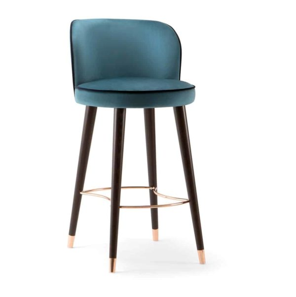 Manhattan Bar Stool with Brass shoes velvet Candy by DeFrae Contract Furniture