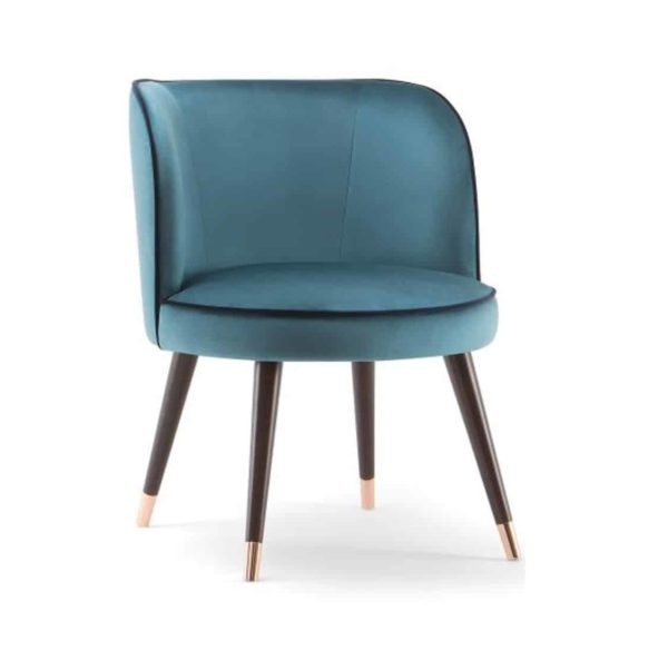 Manhattan Armchair Chair with Brass shoes velvet Candy by DeFrae Contract Furniture
