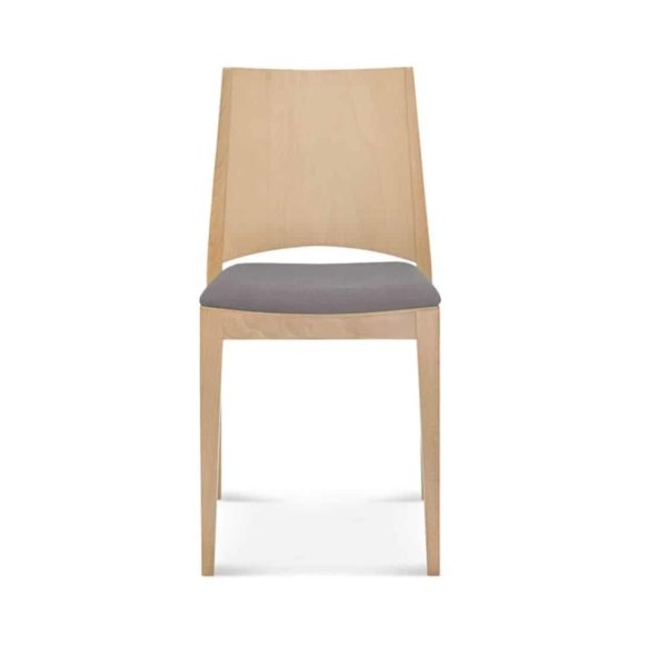 Miami Side Chair A-0707 Wooden Restaurant Chair DeFrae Contract Furniture Upholstered Seat Front View