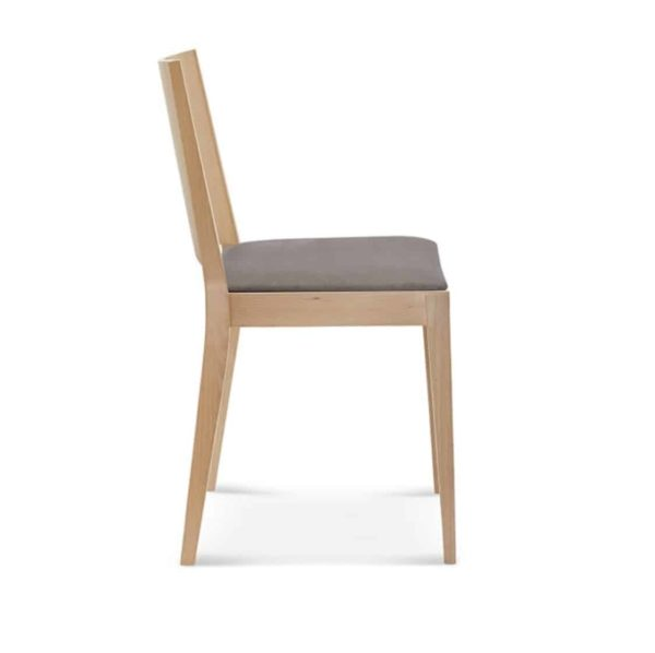 Miami Side Chair A-0707 Wooden Restaurant Chair DeFrae Contract Furniture Upholstered Seat Side View