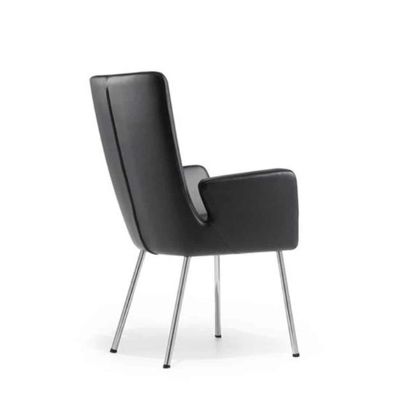 Milas Armchair Metal Legs DeFrae Contract Furniture Black Faux Leather