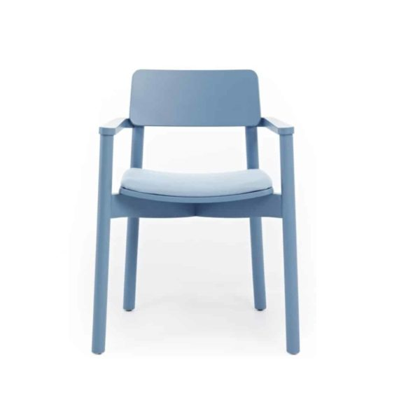 Mine Armchair Wooden Upholstered Seat Blue DeFrae Contract Furniture