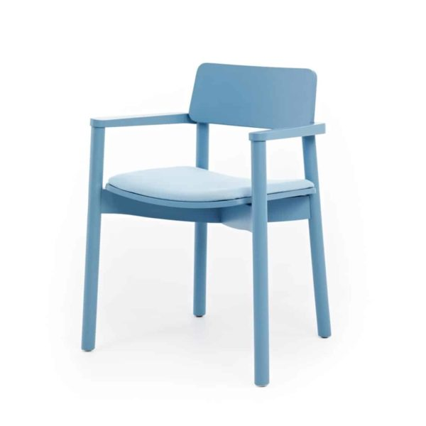 Mine Armchair Wooden Upholstered Seat Blue DeFrae Contract Furniture Hero