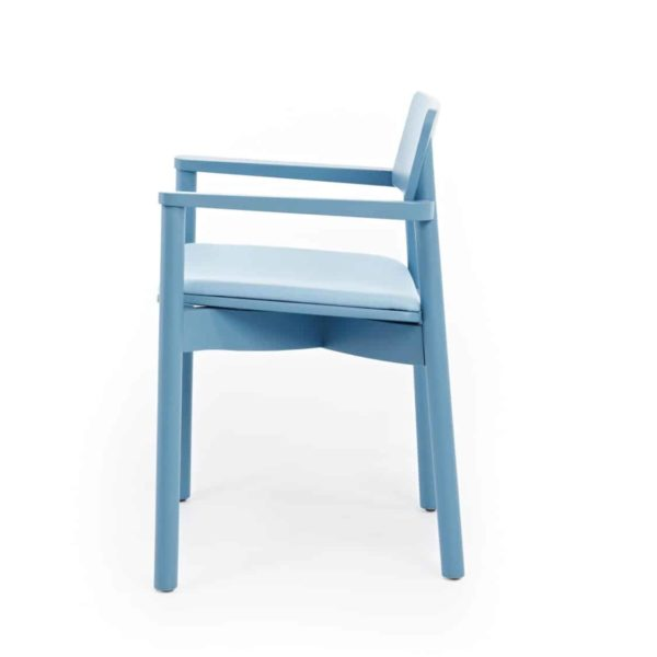 Mine Armchair Wooden Upholstered Seat Blue DeFrae Contract Furniture Side View