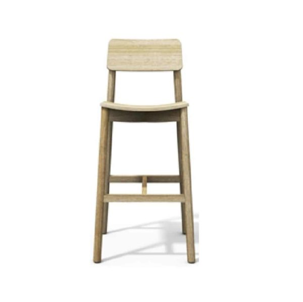 Mine Bar Stool KL82 Wood DeFrae Contract Furniture beech wood front