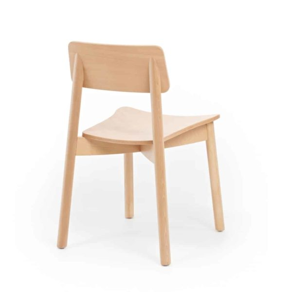 Mine Side Chair Wooden Upholstered Seat DeFrae Contract Furniture Back View