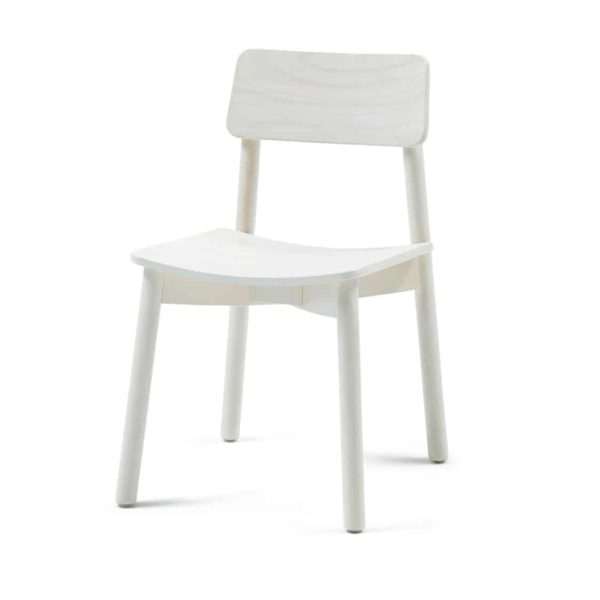 Mine Side Chair Wooden Upholstered Seat DeFrae Contract Furniture Whitewash