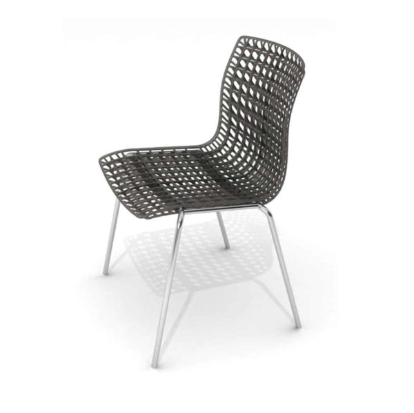 Moire side chair stackable recyclable seat black