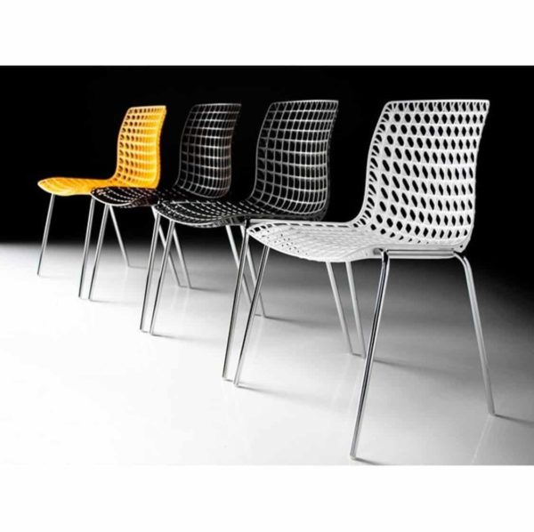 Moire side chair stackable recyclable seat black white and yellow
