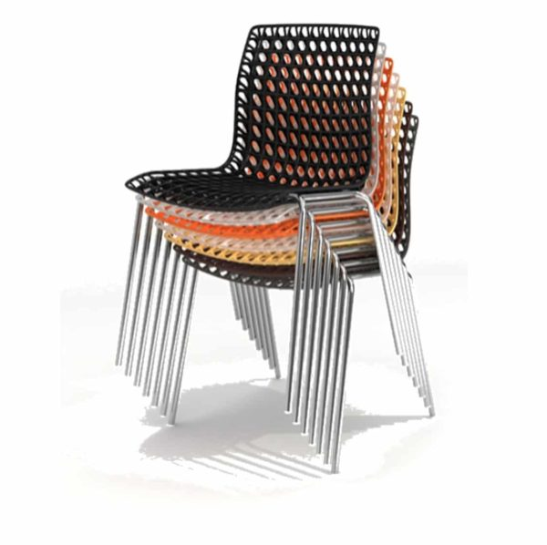 Moire side chair stackable recyclable seat stack up to 10
