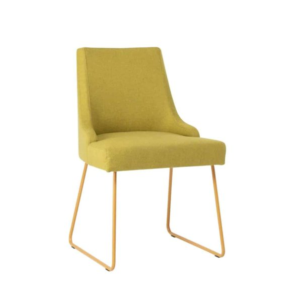 Nancy SE01 DIning Chair DeFrae Contract Furniture Sled Base 23 Gold Frame