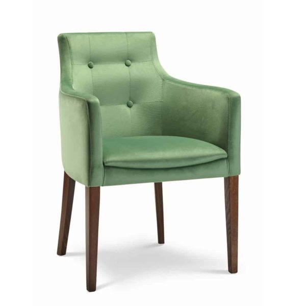 Nina armchair button back with classic legs at DeFrae Contract Furniture
