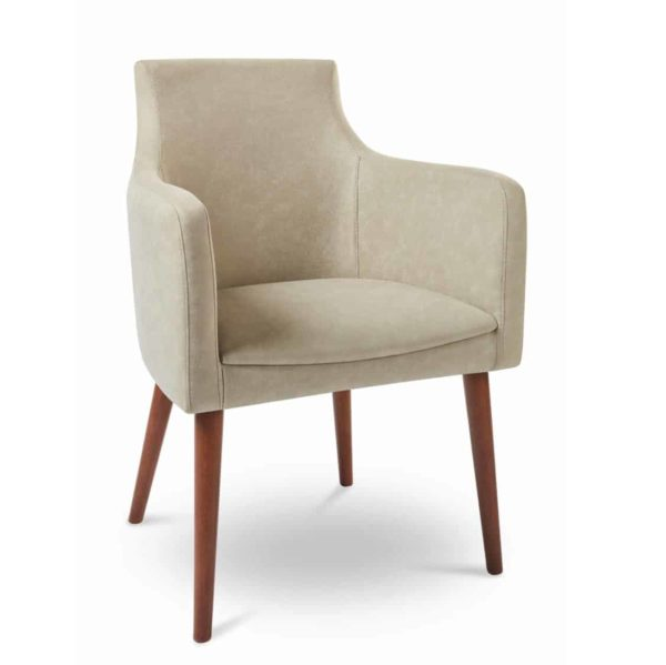 Nina armchair with round legs at DeFrae Contract Furniture