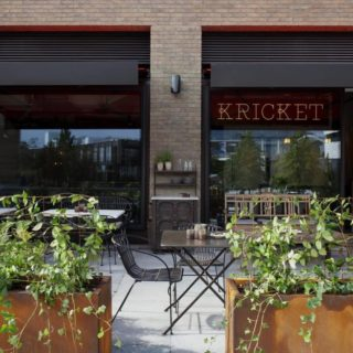 Outside restaurant furniture at Kricket Soho by DeFrae Contract Furniture