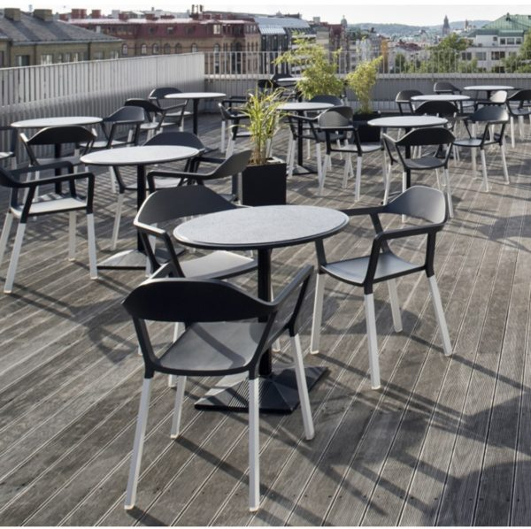 P77 Armchair Outdoor Johanson Design at DeFrae Contract Furniture in situ