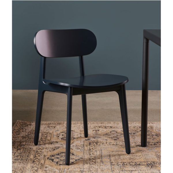 PLC Side Chair DeFrae Contract Furniture Classic Wooden Restaurant Chair Blue In Situ