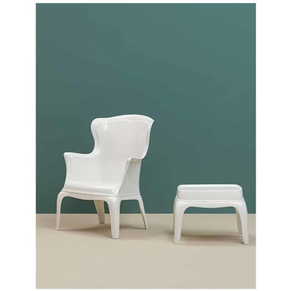 Pasha 660 Armchair Pedrali at DeFrae Contract Furniture White with footstool