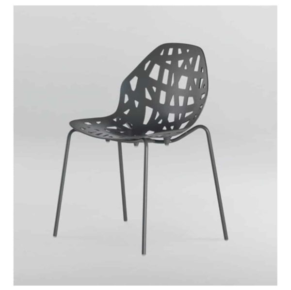 Pelota side chair stackable Casprini DeFrae Contract Furniture black front